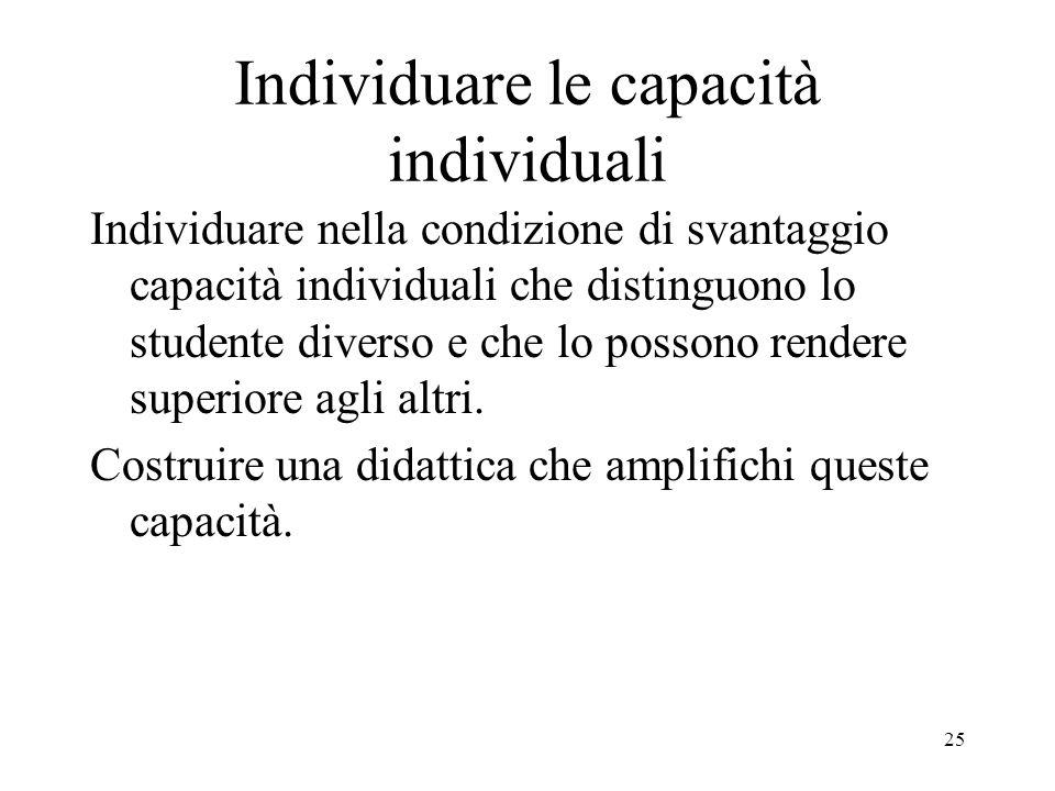 25 Individuare le capacità individuali Individuare nella condizione di svantaggio capacità individuali che distinguono lo studente diverso e che lo po