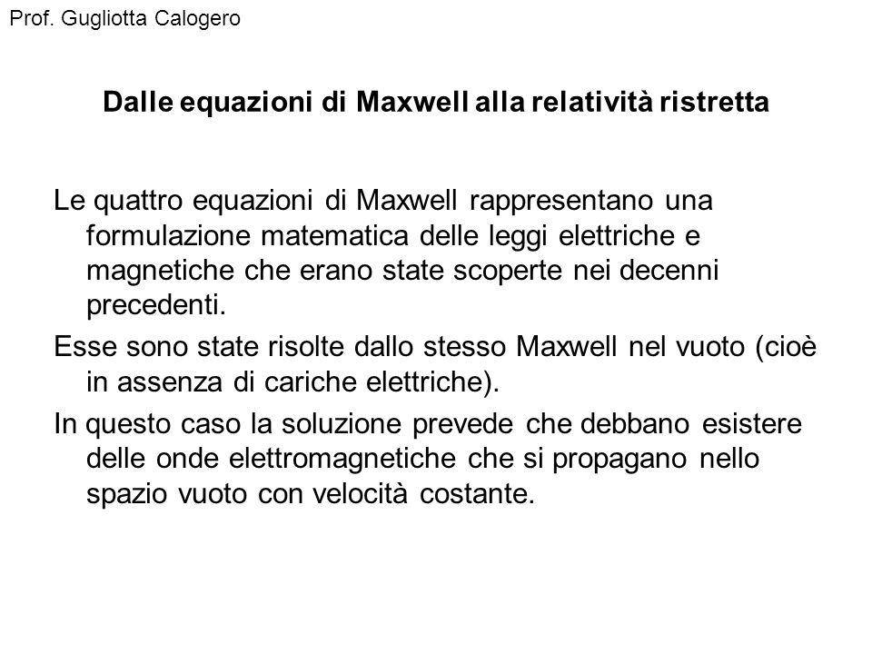 Dalle equazioni di Maxwell alla relatività ristretta Le quattro equazioni di Maxwell rappresentano una formulazione matematica delle leggi elettriche