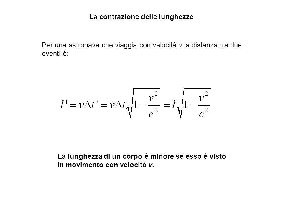 La contrazione delle lunghezze Per una astronave che viaggia con velocità v la distanza tra due eventi è: La lunghezza di un corpo è minore se esso è