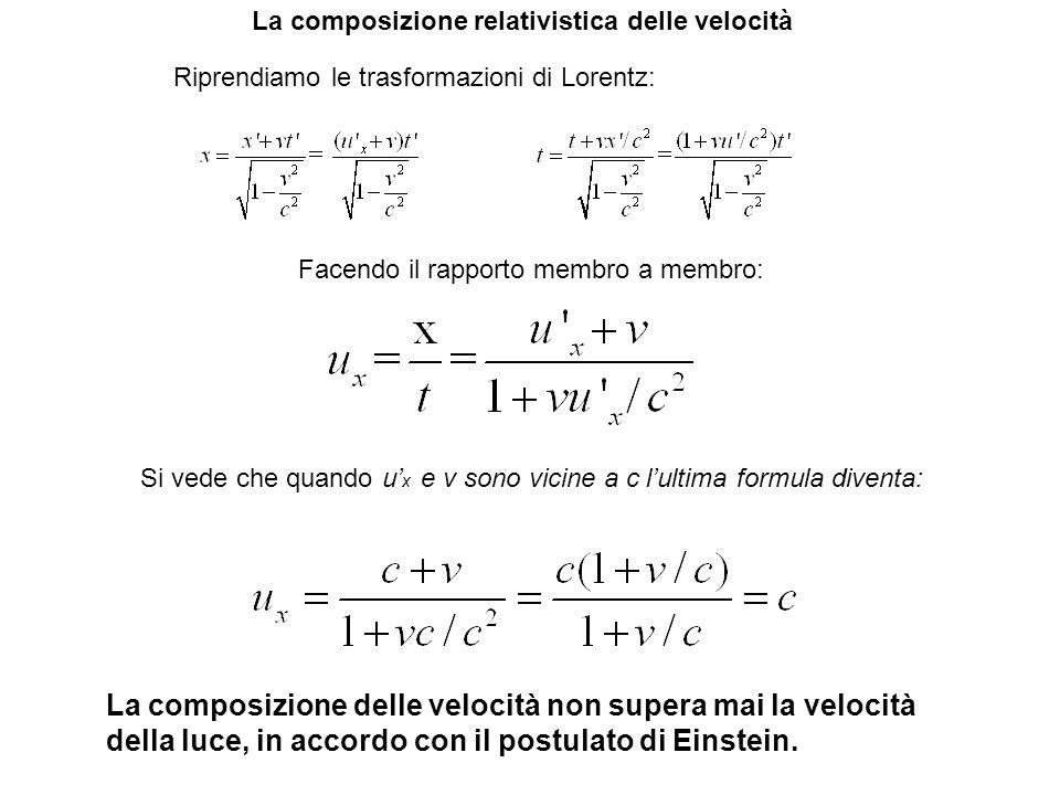 La composizione relativistica delle velocità Riprendiamo le trasformazioni di Lorentz: Si vede che quando u x e v sono vicine a c lultima formula dive