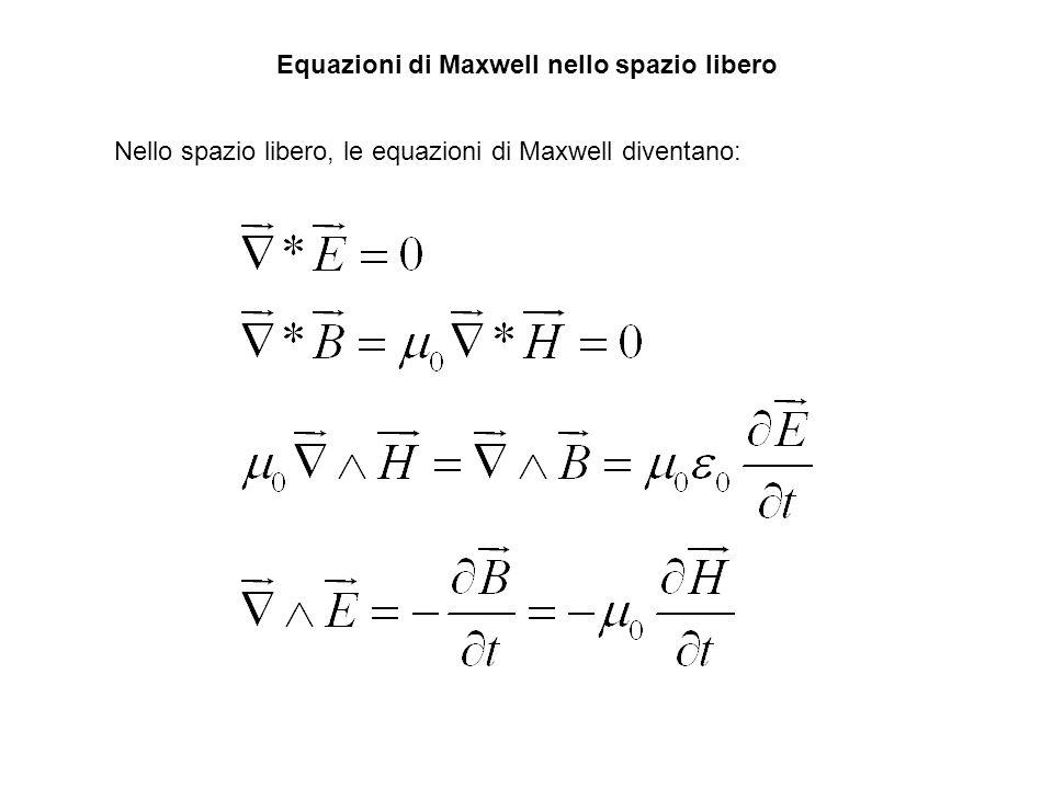 Equazioni di Maxwell nello spazio libero Nello spazio libero, le equazioni di Maxwell diventano: