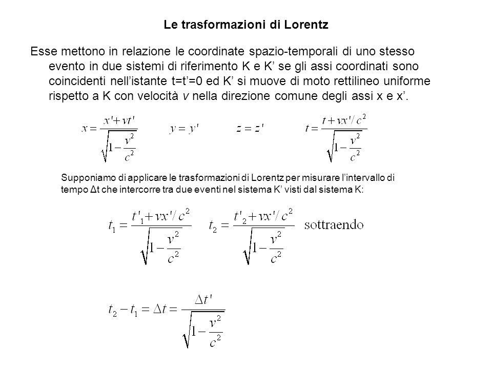 Le trasformazioni di Lorentz Esse mettono in relazione le coordinate spazio-temporali di uno stesso evento in due sistemi di riferimento K e K se gli