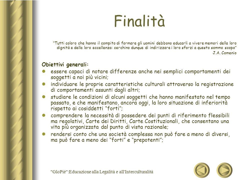 GloPié :Educazione alla Legalità e all Interculturalità Cont.