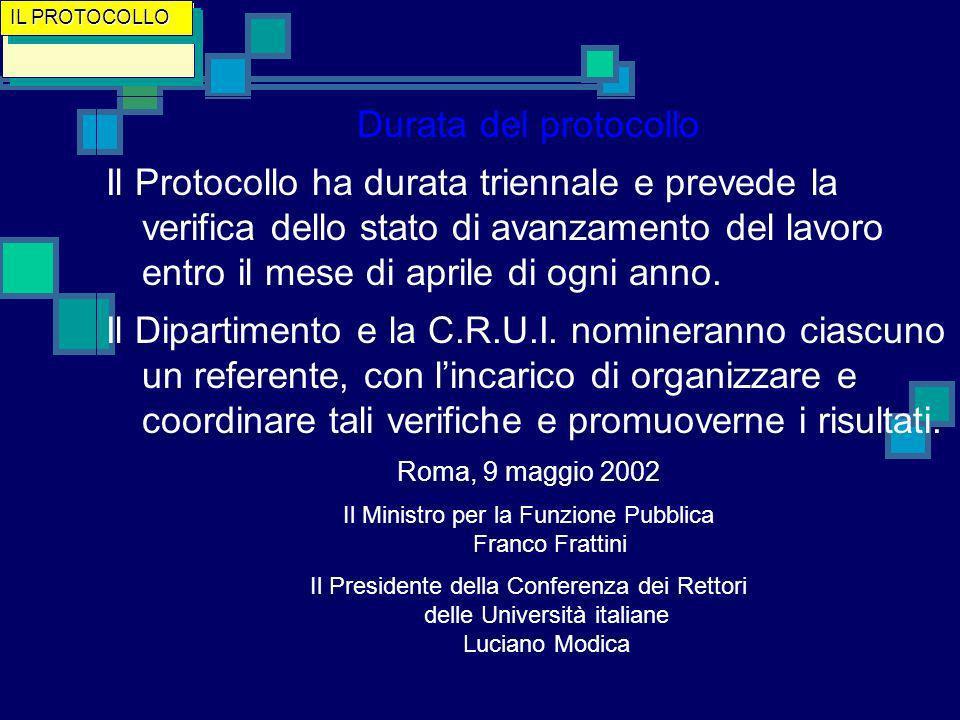 Durata del protocollo Il Protocollo ha durata triennale e prevede la verifica dello stato di avanzamento del lavoro entro il mese di aprile di ogni anno.