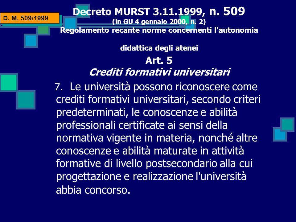 Decreto MURST 3.11.1999, n.509 (in GU 4 gennaio 2000, n.