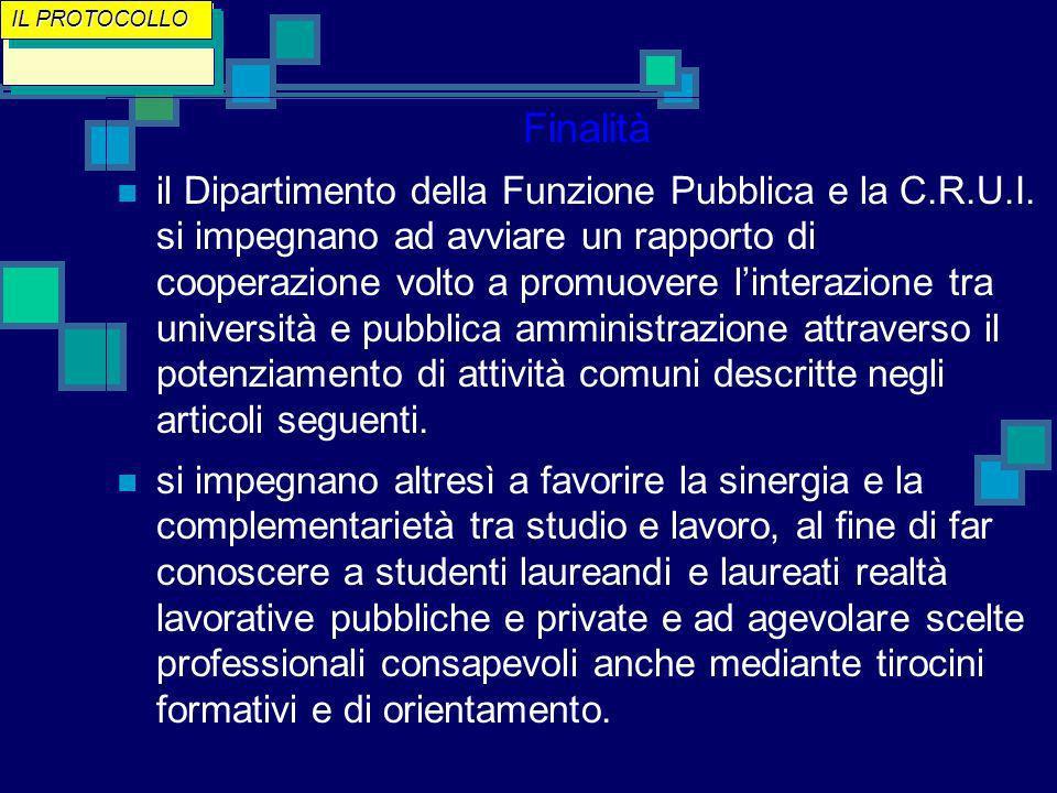 Finalità il Dipartimento della Funzione Pubblica e la C.R.U.I.
