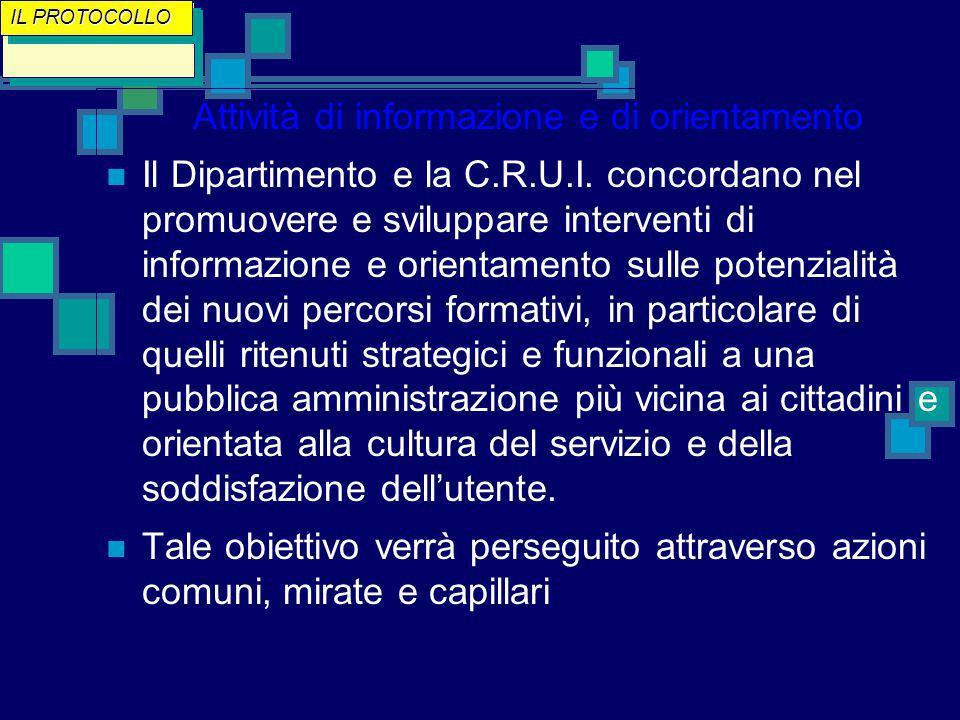 Attività di informazione e di orientamento Il Dipartimento e la C.R.U.I.