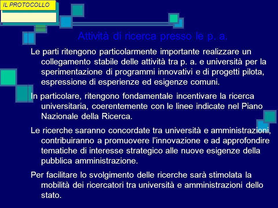 Attività di ricerca presso le p. a.