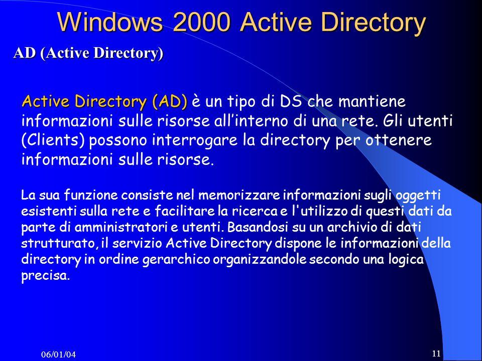 06/01/04 11 Windows 2000 Active Directory Active Directory (AD) Active Directory (AD) è un tipo di DS che mantiene informazioni sulle risorse allinterno di una rete.