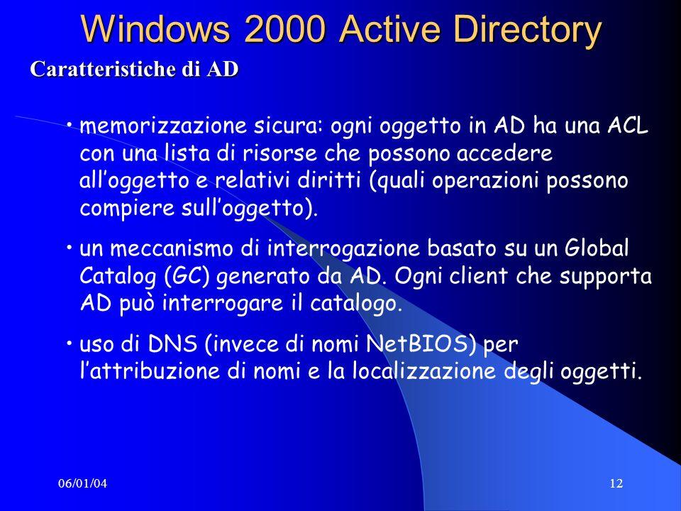 06/01/0412 Windows 2000 Active Directory Caratteristiche di AD memorizzazione sicura: ogni oggetto in AD ha una ACL con una lista di risorse che possono accedere alloggetto e relativi diritti (quali operazioni possono compiere sulloggetto).