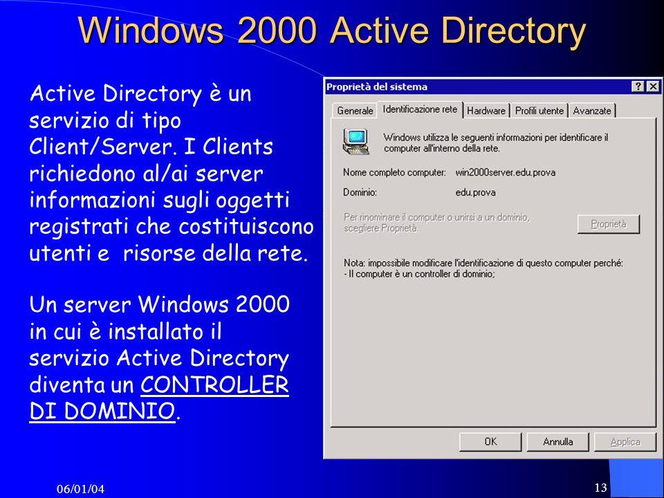 06/01/04 13 Windows 2000 Active Directory Active Directory è un servizio di tipo Client/Server.