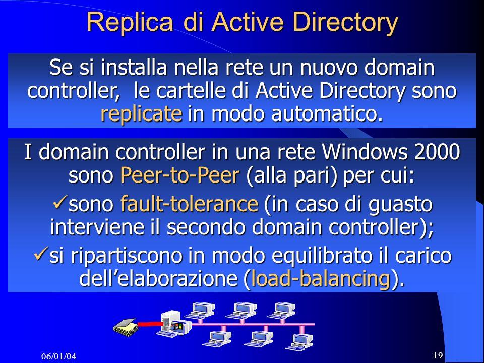 06/01/04 19 Replica di Active Directory Se si installa nella rete un nuovo domain controller, le cartelle di Active Directory sono replicate in modo automatico.