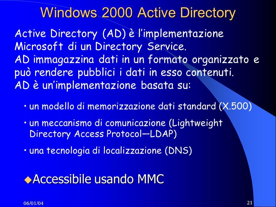 06/01/04 21 Active Directory (AD) è limplementazione Microsoft di un Directory Service.