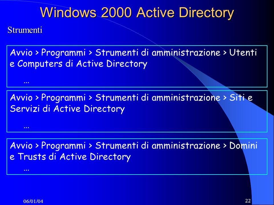 06/01/04 22 Windows 2000 Active Directory Strumenti Avvio > Programmi > Strumenti di amministrazione > Utenti e Computers di Active Directory … Avvio > Programmi > Strumenti di amministrazione > Siti e Servizi di Active Directory … Avvio > Programmi > Strumenti di amministrazione > Domini e Trusts di Active Directory …
