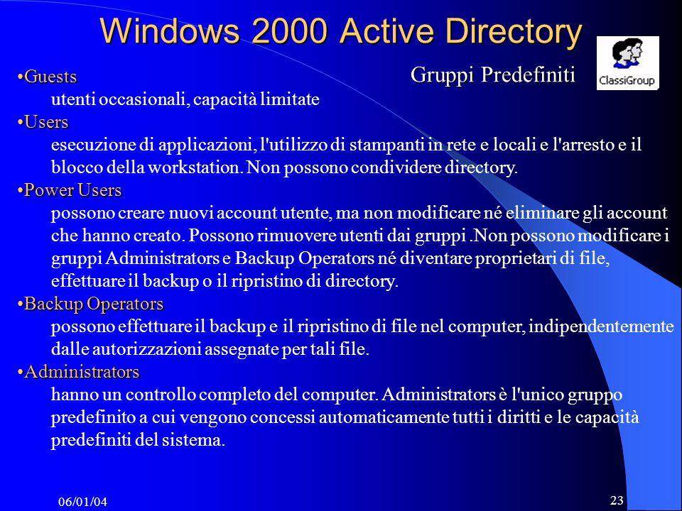 06/01/04 23 GuestsGuests utenti occasionali, capacità limitate UsersUsers esecuzione di applicazioni, l utilizzo di stampanti in rete e locali e l arresto e il blocco della workstation.