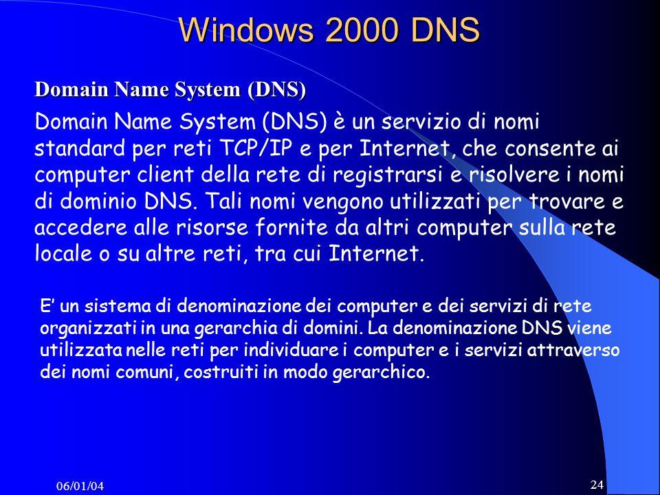 06/01/04 24 Windows 2000 DNS Domain Name System (DNS) Domain Name System (DNS) è un servizio di nomi standard per reti TCP/IP e per Internet, che consente ai computer client della rete di registrarsi e risolvere i nomi di dominio DNS.