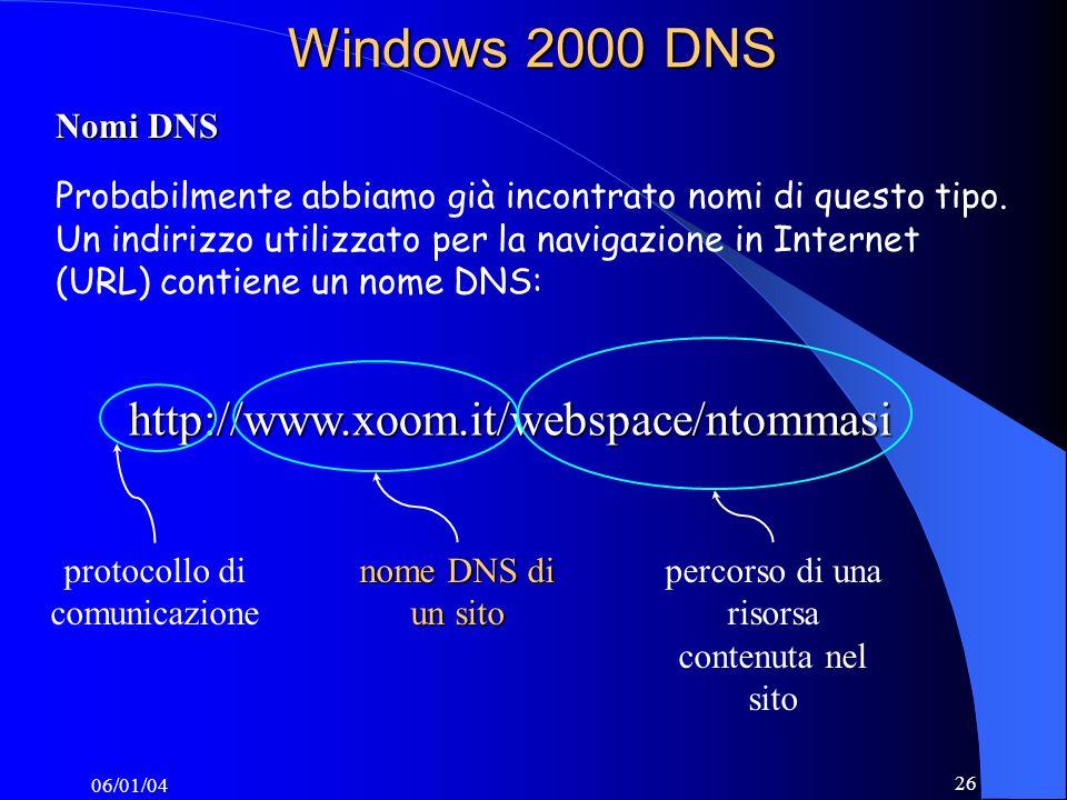 06/01/04 26 Windows 2000 DNS http://www.xoom.it/webspace/ntommasi Nomi DNS Probabilmente abbiamo già incontrato nomi di questo tipo.
