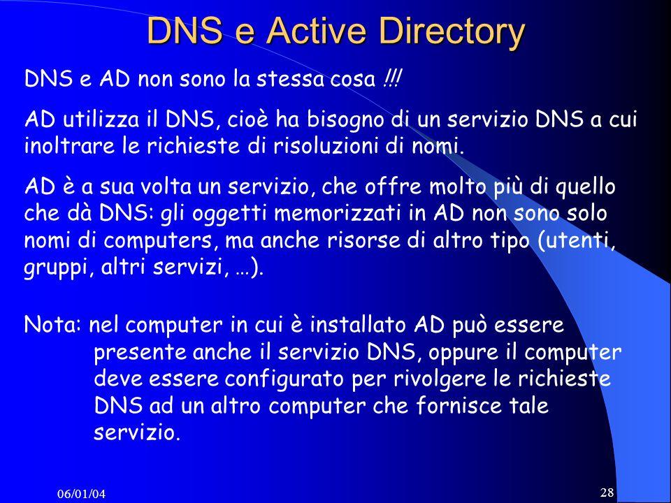 06/01/04 28 DNS e Active Directory DNS e AD non sono la stessa cosa !!.