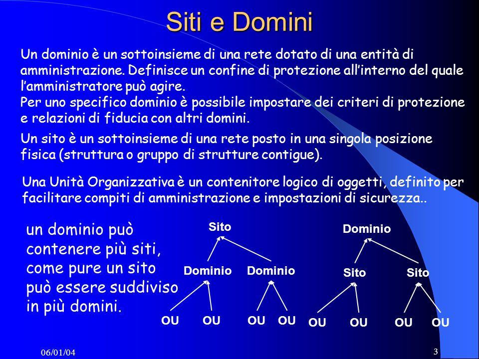 06/01/04 3 Siti e Domini Sito Dominio OU Dominio OU Un dominio è un sottoinsieme di una rete dotato di una entità di amministrazione.