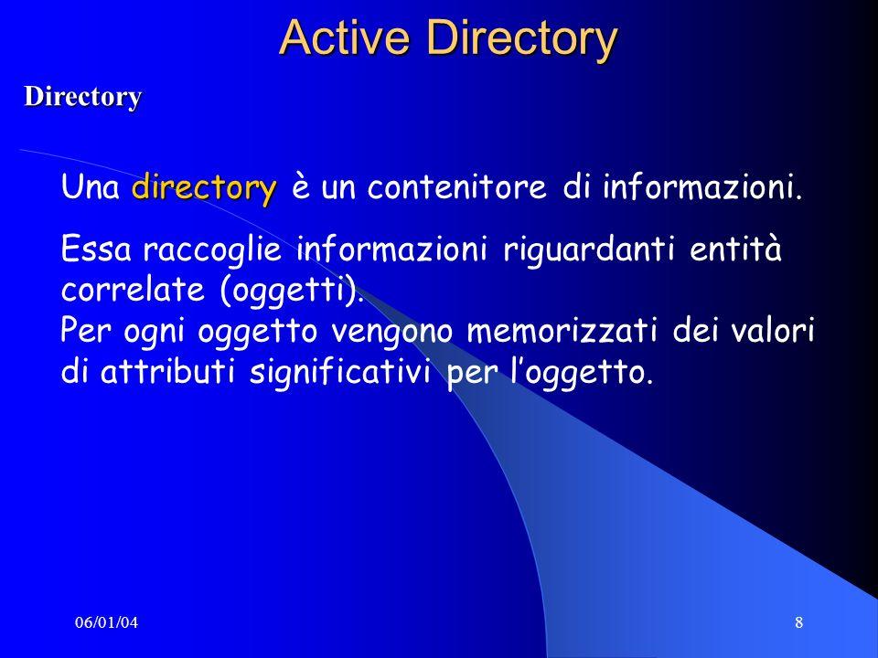 06/01/048 Active Directory directory Una directory è un contenitore di informazioni.