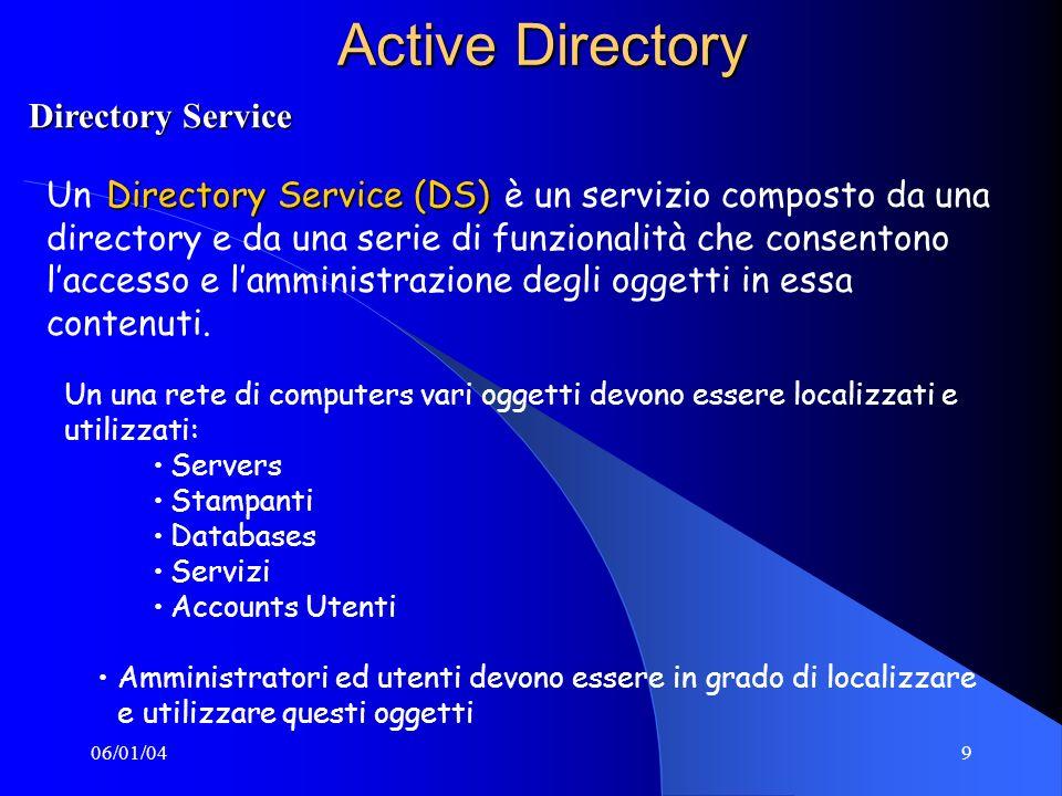06/01/049 Active Directory Directory Service (DS) Un Directory Service (DS) è un servizio composto da una directory e da una serie di funzionalità che consentono laccesso e lamministrazione degli oggetti in essa contenuti.
