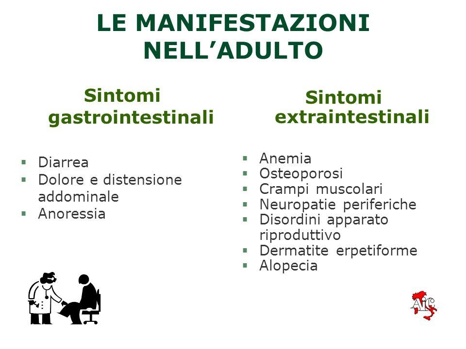 LA CELIACHIA NELLADULTO §La malattia si presenta spesso in maniera sfumata o viene riscontrata casualmente §Si manifesta frequentemente con sintomi as