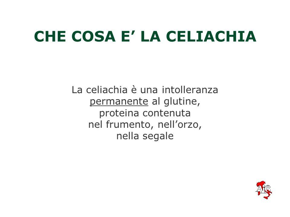 CHE COSA E LA CELIACHIA La celiachia è una intolleranza permanente al glutine, proteina contenuta nel frumento, nellorzo, nella segale