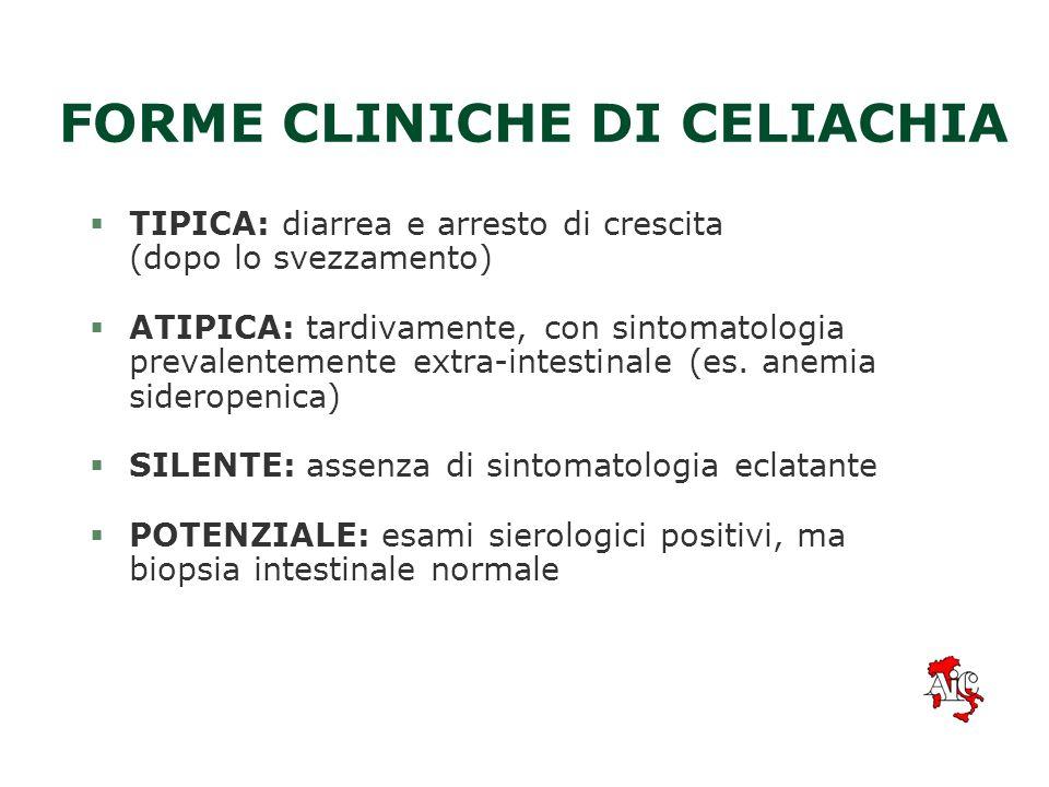 FORME CLINICHE DI CELIACHIA §TIPICA: diarrea e arresto di crescita (dopo lo svezzamento) §ATIPICA: tardivamente, con sintomatologia prevalentemente extra-intestinale (es.