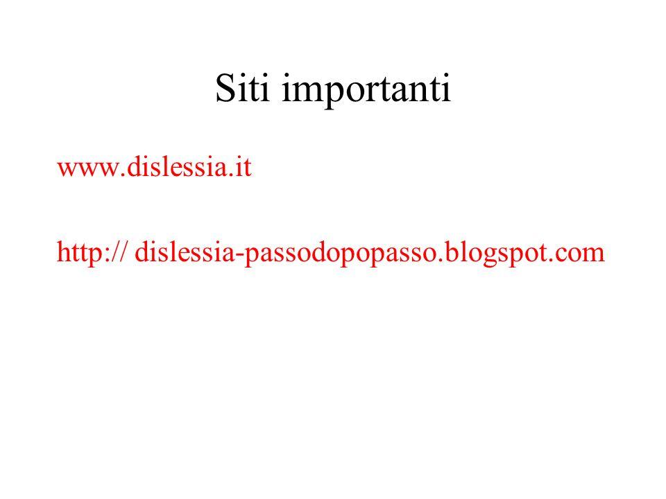 Siti importanti www.dislessia.it http:// dislessia-passodopopasso.blogspot.com