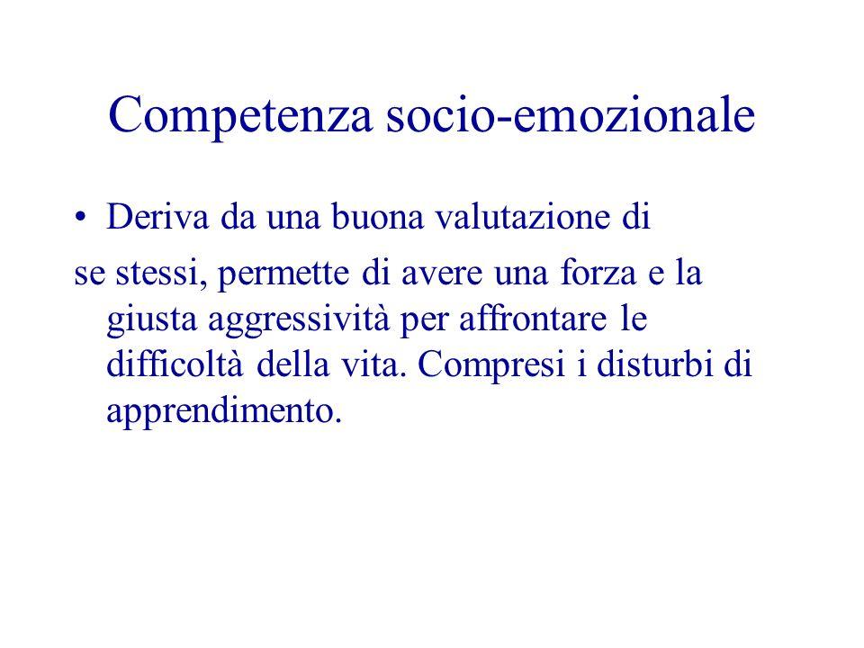 Competenza socio-emozionale Deriva da una buona valutazione di se stessi, permette di avere una forza e la giusta aggressività per affrontare le diffi