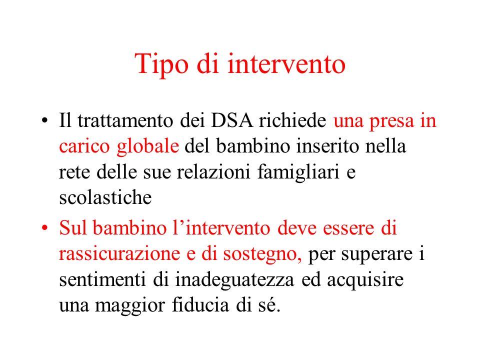 Tipo di intervento Il trattamento dei DSA richiede una presa in carico globale del bambino inserito nella rete delle sue relazioni famigliari e scolas