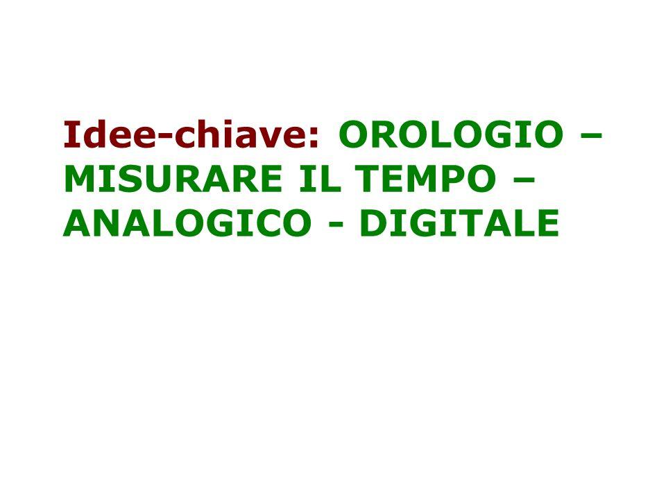 Idee-chiave: OROLOGIO – MISURARE IL TEMPO – ANALOGICO - DIGITALE