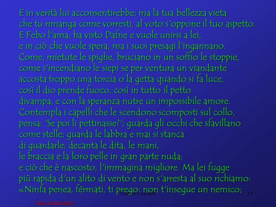 Nunzio Castaldi15 E in verità lui acconsentirebbe; ma la tua bellezza vieta che tu rimanga come vorresti, al voto s'oppone il tuo aspetto. E Febo l'am