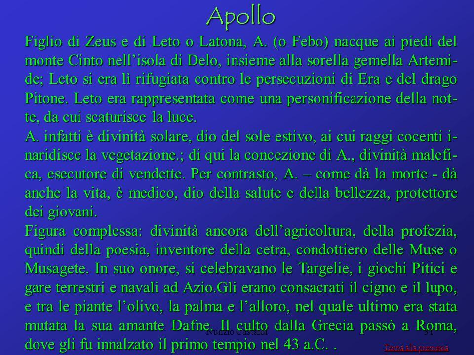 Nunzio Castaldi31Apollo Figlio di Zeus e di Leto o Latona, A. (o Febo) nacque ai piedi del monte Cinto nellisola di Delo, insieme alla sorella gemella