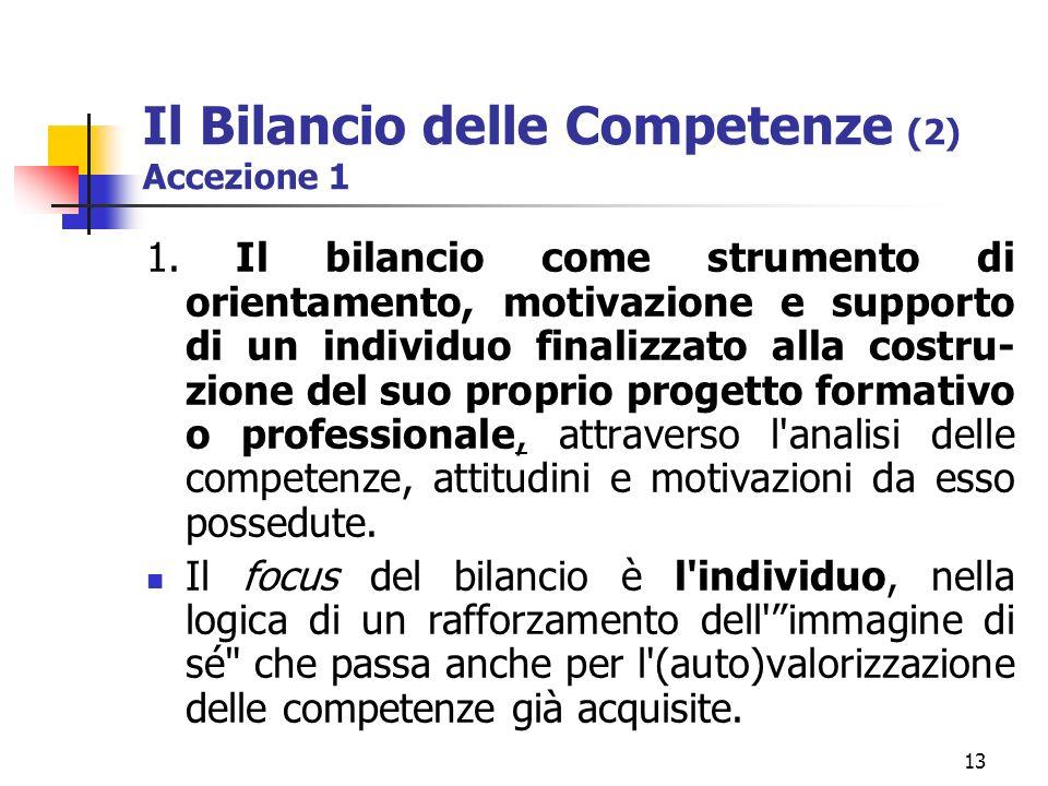 13 Il Bilancio delle Competenze (2) Accezione 1 1.