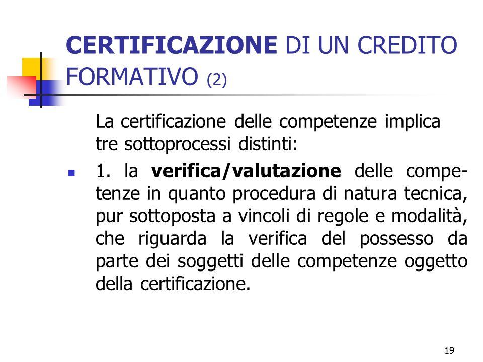 19 CERTIFICAZIONE DI UN CREDITO FORMATIVO (2) La certificazione delle competenze implica tre sottoprocessi distinti: 1.