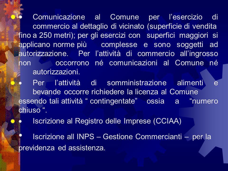 Comunicazione al Comune per lesercizio di commercio al dettaglio di vicinato (superficie di vendita fino a 250 metri); per gli esercizi con superfici