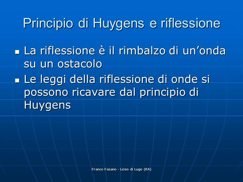 Franco Fasano - Liceo di Lugo (RA) Principio di Huygens e riflessione Un fronte donda rettilineo raggiunge un ostacolo con un angolo di incidenza i Se il riflettore è neutro, cioè piano, non modifica la forma del fronte donda