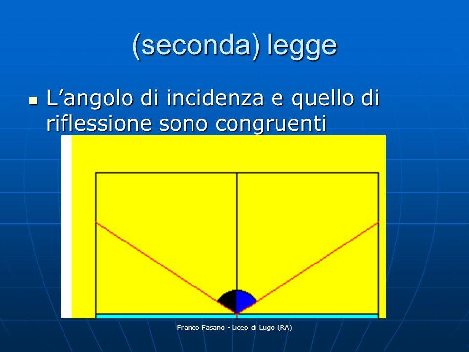 Franco Fasano - Liceo di Lugo (RA) (seconda) legge Langolo di incidenza e quello di riflessione sono congruenti Langolo di incidenza e quello di riflessione sono congruenti