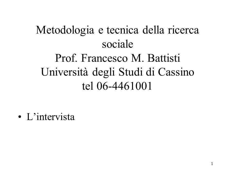1 Metodologia e tecnica della ricerca sociale Prof. Francesco M. Battisti Università degli Studi di Cassino tel 06-4461001 Lintervista