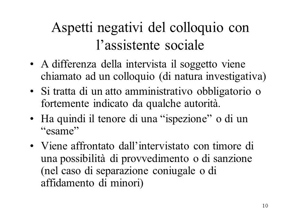 10 Aspetti negativi del colloquio con lassistente sociale A differenza della intervista il soggetto viene chiamato ad un colloquio (di natura investig