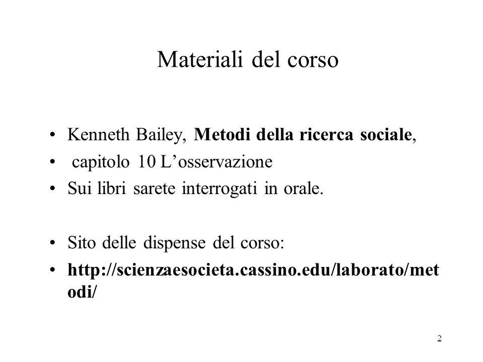 2 Materiali del corso Kenneth Bailey, Metodi della ricerca sociale, capitolo 10 Losservazione Sui libri sarete interrogati in orale.