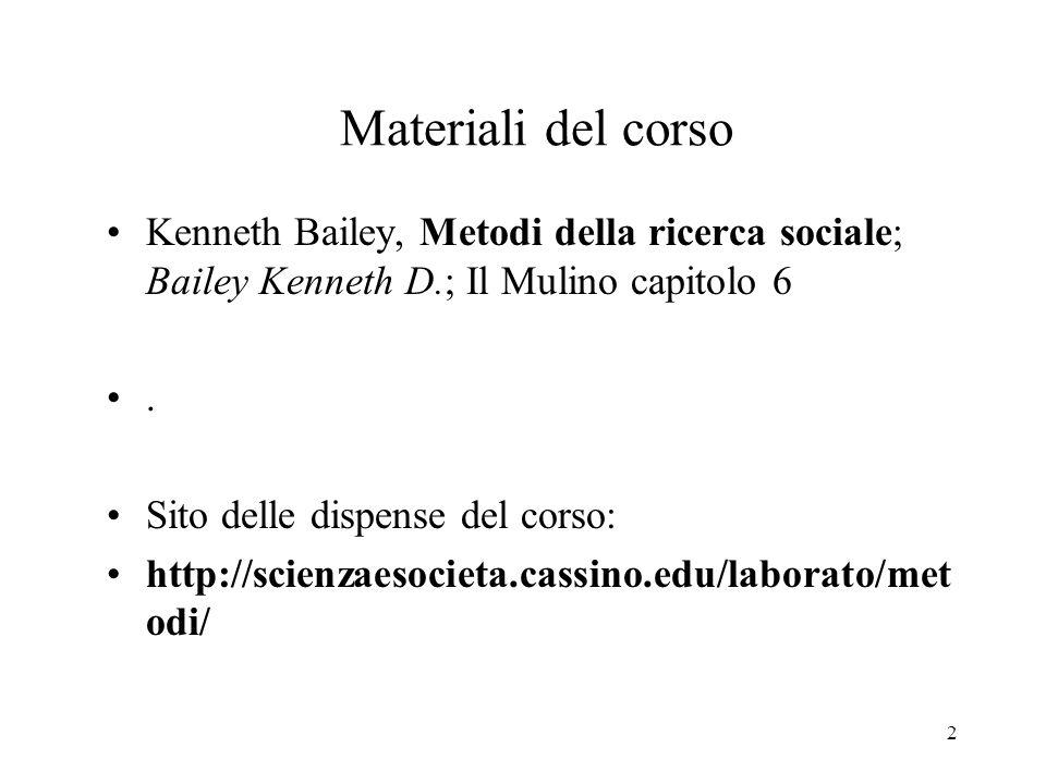 2 Materiali del corso Kenneth Bailey, Metodi della ricerca sociale; Bailey Kenneth D.; Il Mulino capitolo 6. Sito delle dispense del corso: http://sci