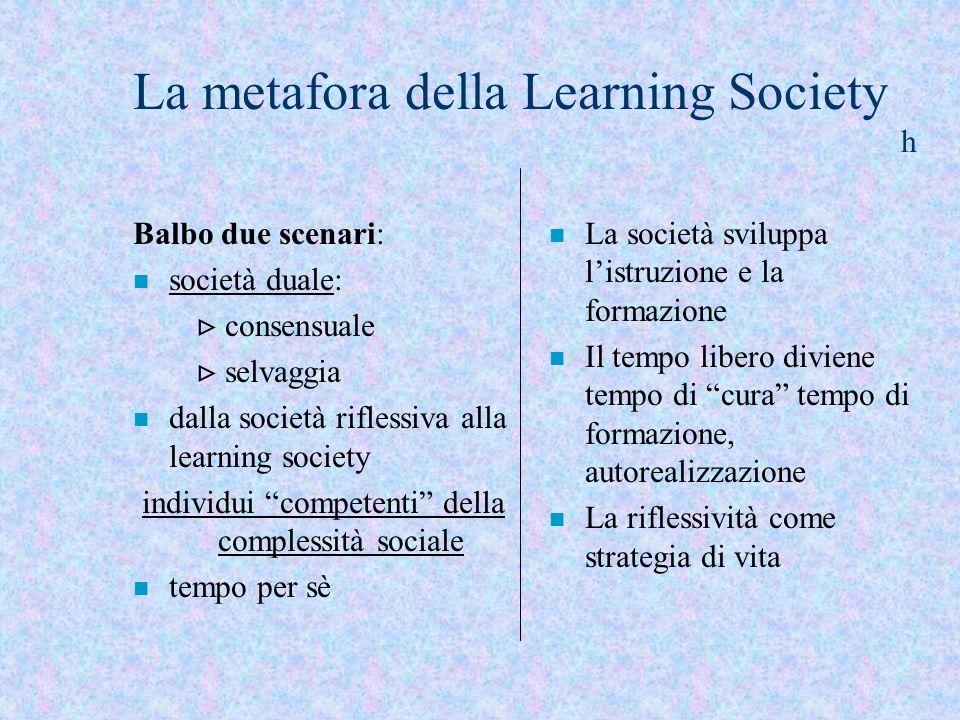 Balbo due scenari: n società duale: consensuale selvaggia n dalla società riflessiva alla learning society individui competenti della complessità soci