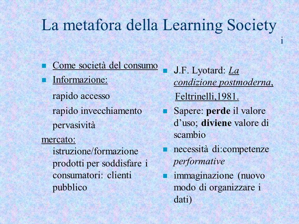 La metafora della Learning Society i n Come società del consumo n Informazione: rapido accesso rapido invecchiamento pervasività mercato: istruzione/f