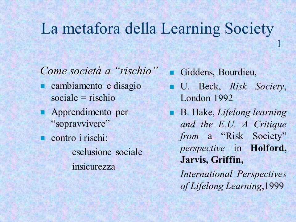 La metafora della Learning Society l Come società a rischio n cambiamento e disagio sociale = rischio n Apprendimento per sopravvivere n contro i risc
