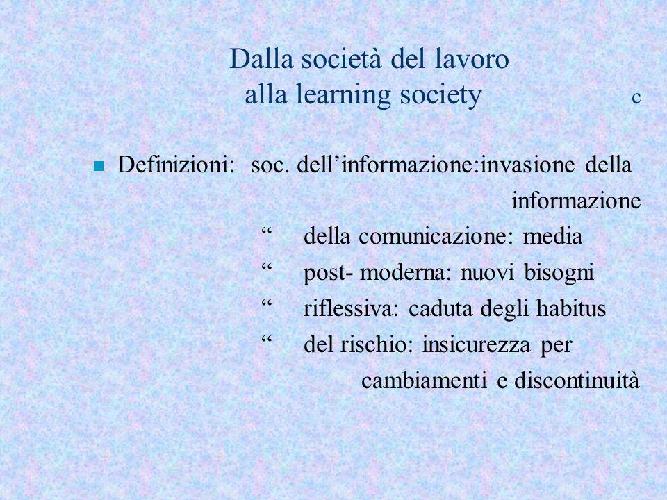 Dalla società del lavoro alla learning society c n Definizioni: soc. dellinformazione:invasione della informazione della comunicazione: media post- mo