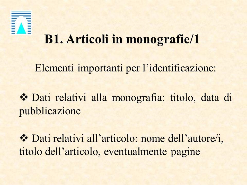 B1. Articoli in monografie/1 Elementi importanti per lidentificazione: Dati relativi alla monografia: titolo, data di pubblicazione Dati relativi alla