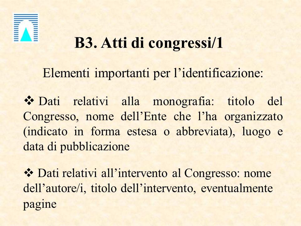 B3. Atti di congressi/1 Elementi importanti per lidentificazione: Dati relativi alla monografia: titolo del Congresso, nome dellEnte che lha organizza