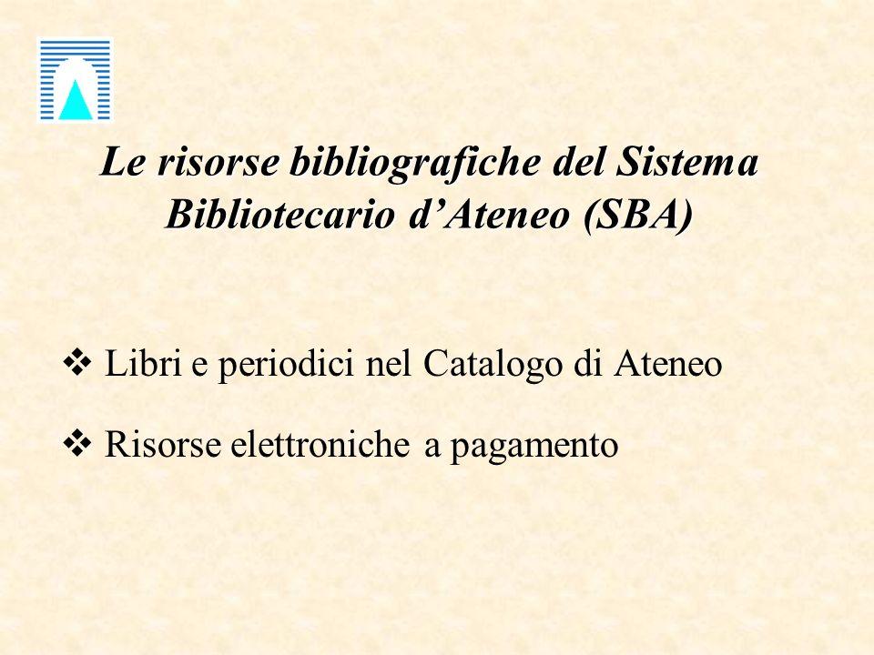 Le risorse bibliografiche del Sistema Bibliotecario dAteneo (SBA) Libri e periodici nel Catalogo di Ateneo Risorse elettroniche a pagamento